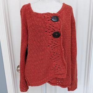 Willow orange cotton button wrap chunky cardigan